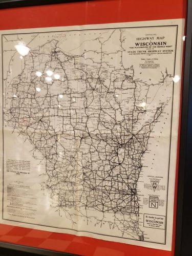 1920s Wisconsin highway map, part of the Wisconsin Highway History exhibit at the Wisconsin Automotive Museum in Hartford, Wisconsin