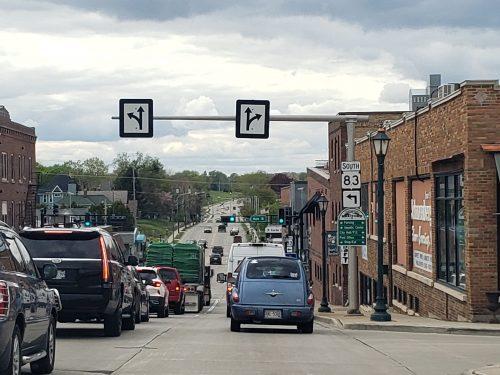 Highway 60 westbound approaching Highway 83/Main Street in Hartford, Wisconsin