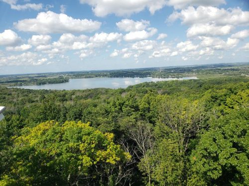 View of Pike Lake from the Powder Hill Observation Tower, Pike Lake Unit of Kettle Moraine State Forest outside Hartford, Wisconsin
