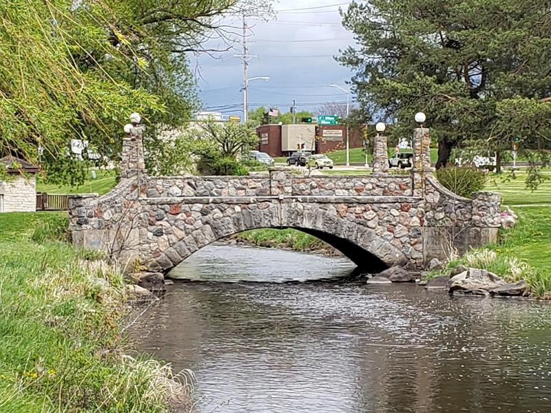 Bridge over the Rubicon River in Willowbrook Park, along Highway 60 in Hartford, Wisconsin