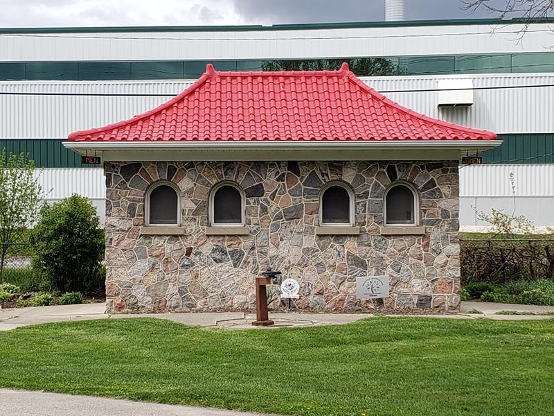 The bathroom facility at Willowbrook Park in Hartford, Wisconsin, right along Highway 60