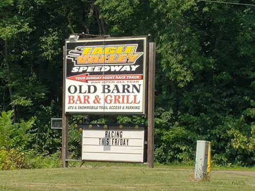 Eagle Valley Speedway near Jim Falls, Wisconsin, accessed off Highway 178