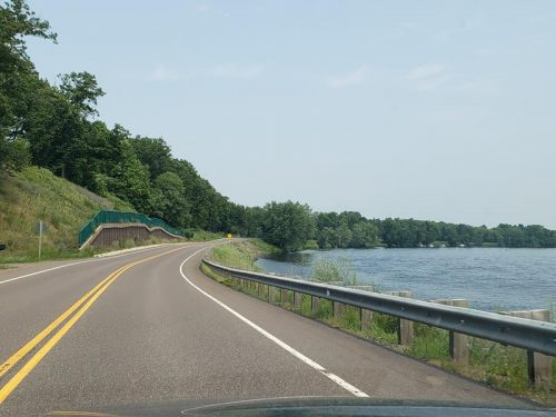Highway 178 along the Chippewa River south of Cornell, Wisconsin