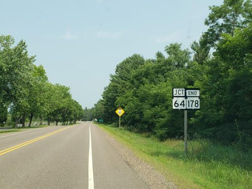 Northbound Highway 178 ends at Highway 64 just outside of Cornell, Wisconsin