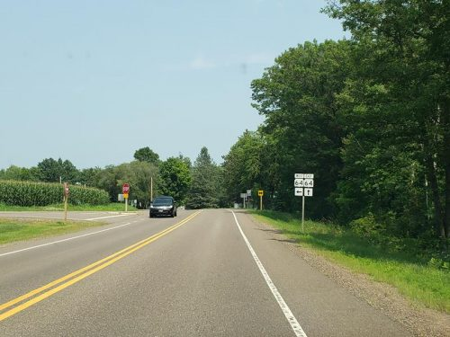 Highway 178 transitions to Highway 64 approaching Cornell, Wisconsin
