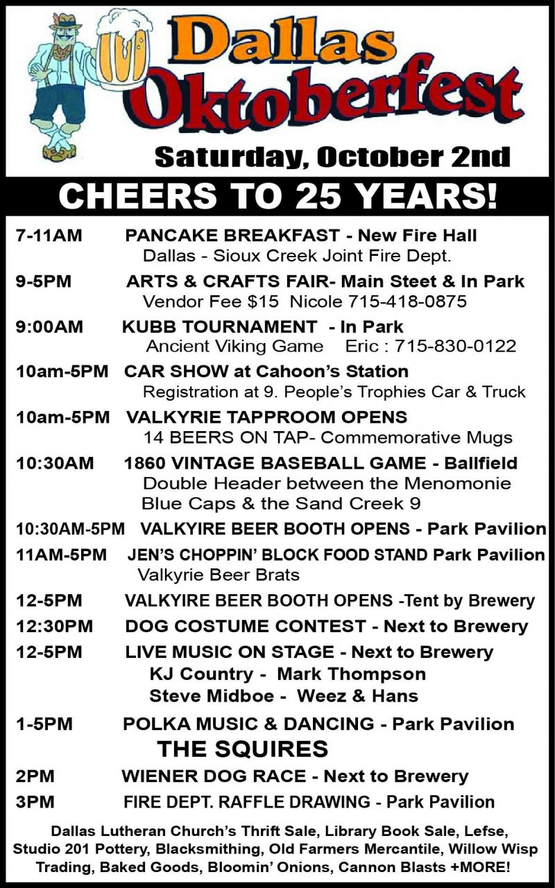 Dallas Oktoberfest info and lineup with Valkyrie Brewing Company on October 2, 2021 in Dallas, Wisconsin