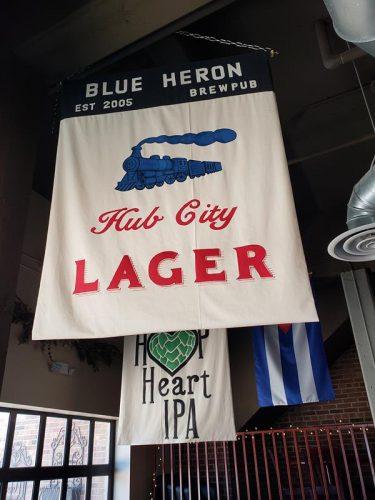 Hub City Lager banner at Blue Heron Brewpub, Marshfield, Wisconsin