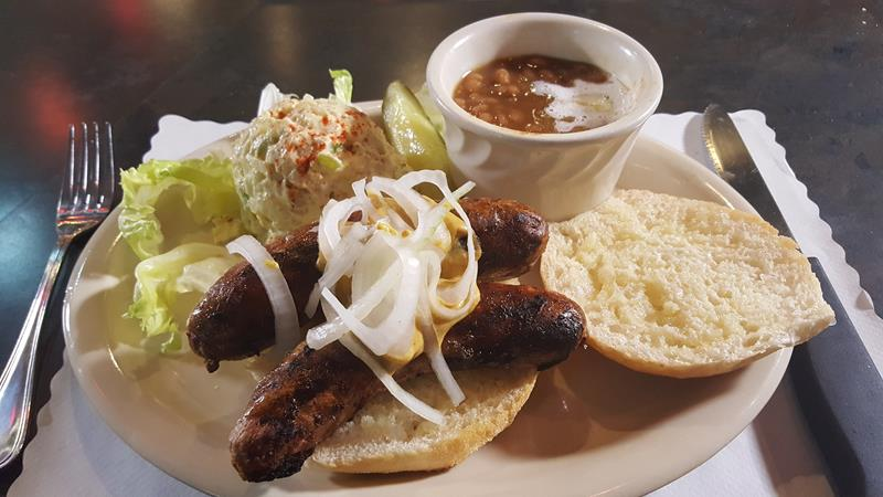 Double Brat Special at Sly's Midtown Saloon & Grill, on 8th Street in downtown Sheboygan, Wisconsin