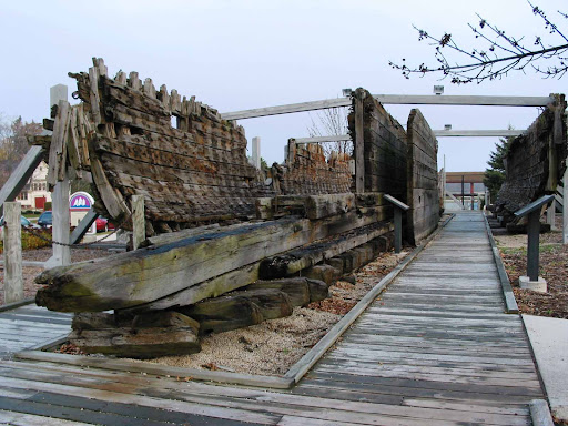 Wreckage of the ship Lottie Cooper, on display at Deland Park in Sheboygan, Wisconsin