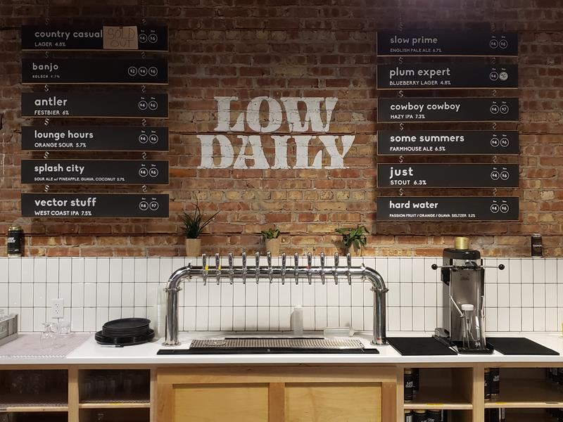 The taps behind the bar at Low Daily Beer, Burlington, Wisconsin