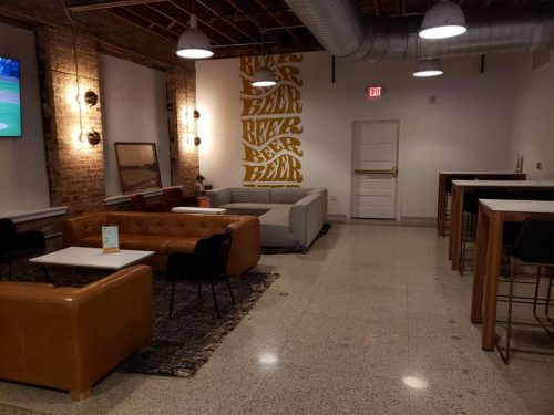 Tap room seating inside Low Daily Brewery, Burlington, Wisconsin
