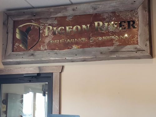 Inside the Pigeon River Brewing Company in Marion, Wisconsin