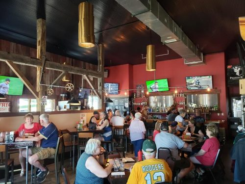 The Tap Room inside Pigeon River Brewing Company, at Highway 110 and U.S. 45 in Marion, Wisconsin