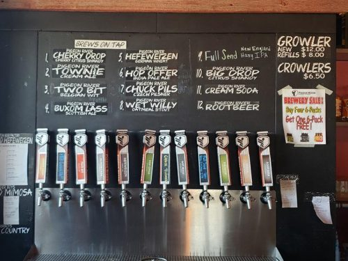 Taps at Pigeon River Brewing Company, at Highway 110 and U.S. 45 in Marion, Wisconsin