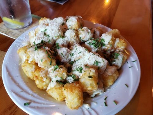 Parmesan-covered tots at Pigeon River Brewing Company, at Highway 110 and U.S. 45 in Marion, Wisconsin